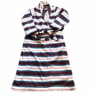 LL Bean Fleece Striped Wrap Front Robe